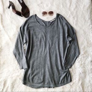 Soft Surroundings grey Marguiles zip back sweater